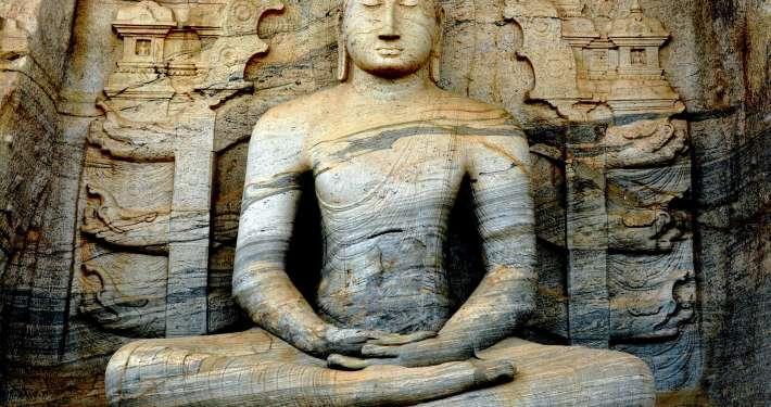 buddha of gal vihara sri lanka in deep mindfulness concentration of the jhanas